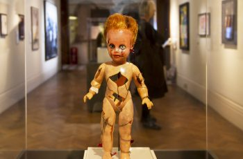 A doll sculpture in the Alternative Visions exhibition