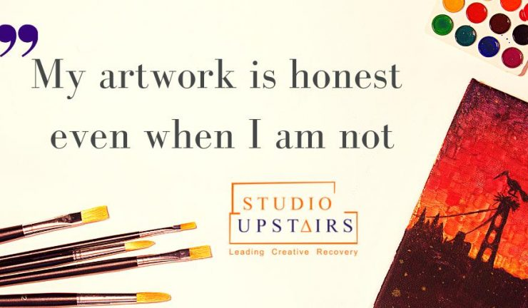 "Paint brushes, paints, and the phrase ""my artwork is honest even when I am not"""