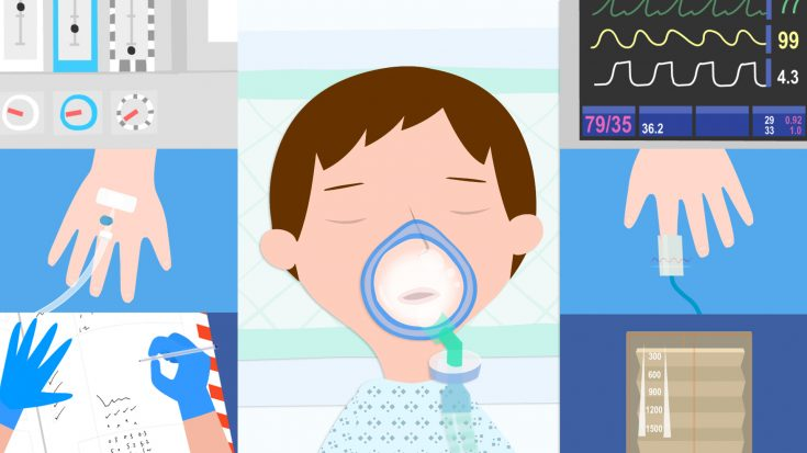 Illustration of boy in hospital under anaesthetic