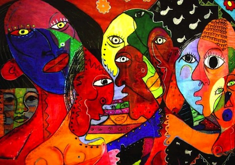 Colourful painting of many faces