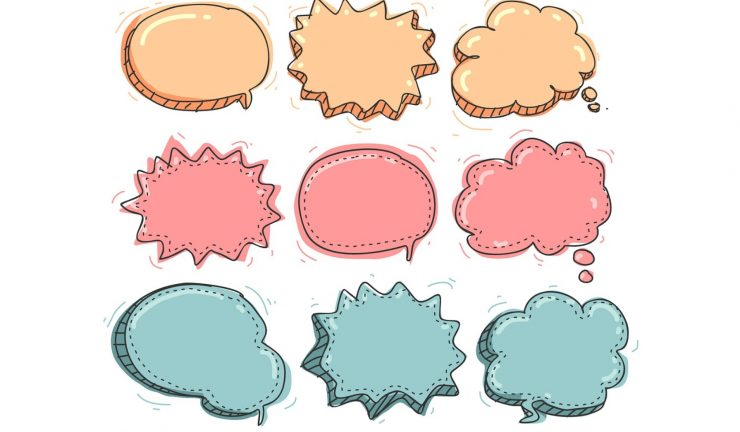 Illustration of coloured speech bubbles