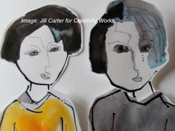 Ink illustration of 2 people