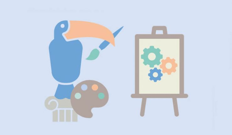 Illustration of a bird holding a paint palette and a paint brush, painting a picture of 3 mechanical cogs
