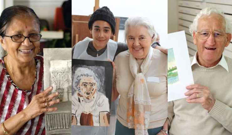 3 older people and 1 teenager hold up artworks they have made