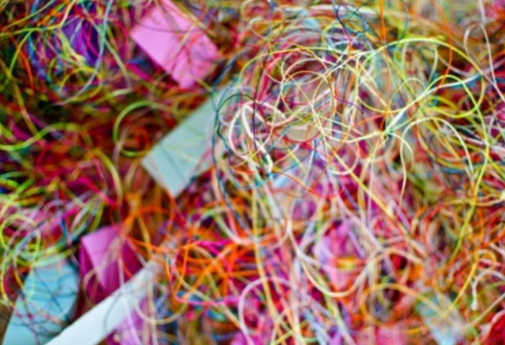 A bundle of colourful thread