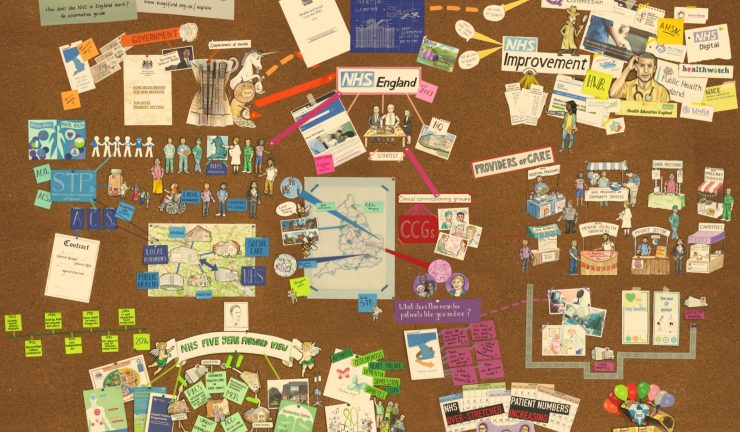 A still from the featured animation, with a pin board explaining how the NHS works