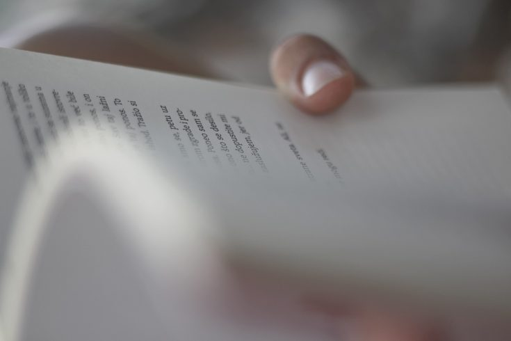 A person's hand holding a poetry book