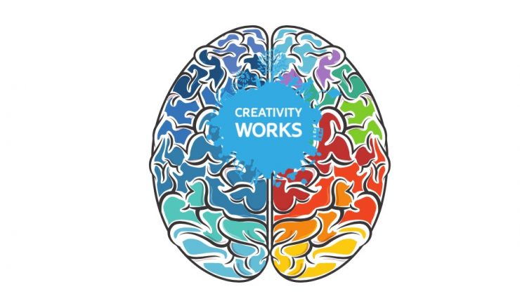 A colourful drawing of a brain, with the creativity works logo