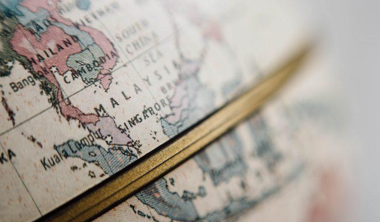 Globe showing Malaysia