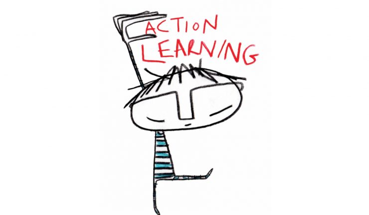 Illustration of a person holding up their hand, and the phrase action learning by their head