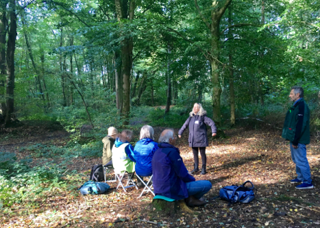 Photo by Barbara Bloomfield shows a Mindful Walking and Writing group in Leigh Woods, Bristol.