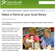 Sandwell Library Services have always been active in their health and wellbeing offer – and combatting loneliness.