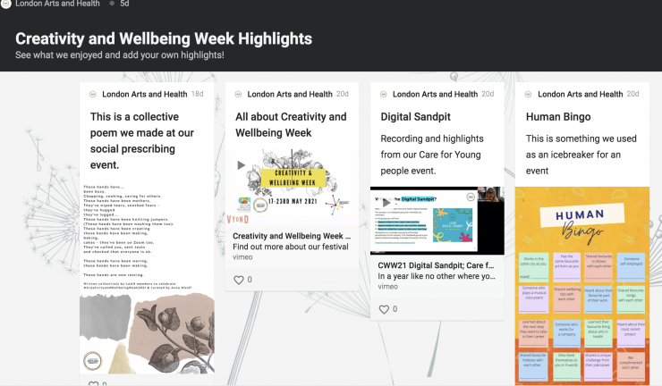 Creativity and Wellbeing Week Highlights